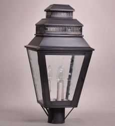 Elryan 3-Light Lamp Post Lantern with Clear Seedy Glass