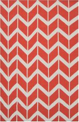 Fallon Bright Orange Chevron Flat Pile Rug