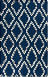 Fallon Dark Blue, Cream & Charcoal Flat Pile Rug *Low Stock