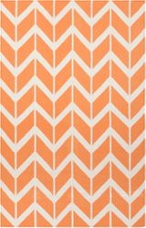 Fallon Orange Chevron Flat Pile Rug