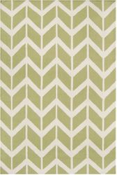 Fallon Winter White/Light Lime Chevron Flat Pile Rug *Low Stock