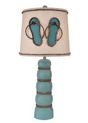 Turquoise Sea Five Ball Table Lamps with Flip Flop Shade