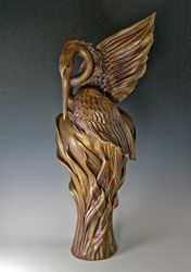 Flame Wing Heron Bronze Sculpture
