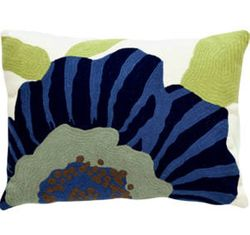 Stripe Flower Navy/Light Blue Indoor/Outdoor Pillow<font color=a8bb35> Sold Out</font>