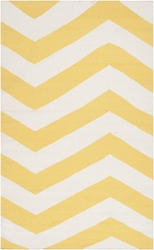 Frontier Sunshine Yellow/White Flat Pile Rug *Low Stock