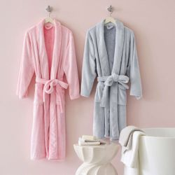 Frosted Fleece Shortie Robe - 5 Color Options