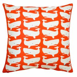 Fun Whales White on Red Pillow