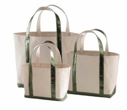 Glam Canvas Natural/Emerald Tote - 3 Sizes