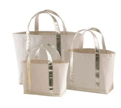 Glam Canvas Natural/Gold Tote - 3 Sizes