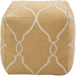 Golden Yellow Wool Pouf