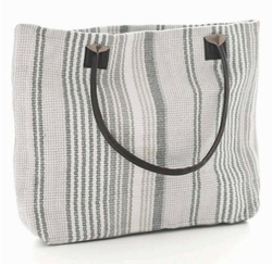 Gradation Ticking Woven Cotton Tote Bag<font color=a8bb35> 20% OFF</font>