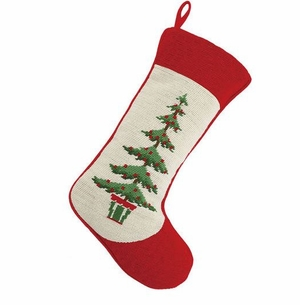 Green and White Tree Pot Christmas Stocking<font color =a8bb35> Sold out</font>