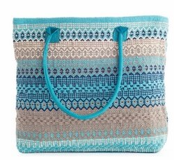 Gypsy Stripe Cotton Beach Tote - Turquoise/grey