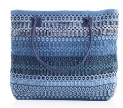 Gypsy Stripe Cotton Beach Tote - Denim/Ivory<font color=a8bb35> 20% OFF</font>