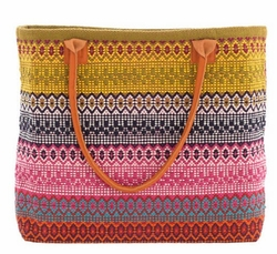 Gypsy Stripe Cotton Beach Tote - Multi Colors<font color=a8bb35> 20% OFF</font>