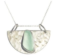 Half Moon Sea Glass Pendant Necklace <font color=a8bb35> Sold Out</font>