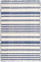 Hampshire Stripe Cobalt Woven Cotton Rug <font color=a8bb25>NEW</font>