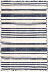 Hampshire Stripe Navy Woven Cotton Rug <font color=a8bb25>NEW</font>