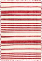 Hampshire Stripe Red Woven Cotton Rug <font color=a8bb25>NEW</font>