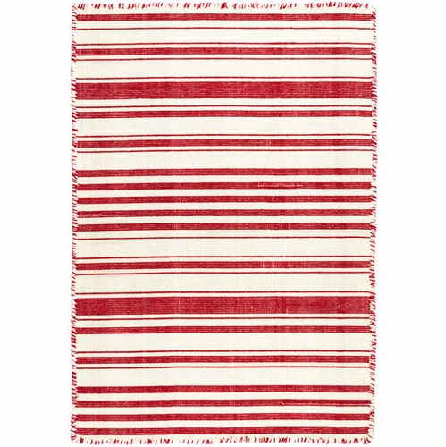Hampshire Stripe Red Woven Cotton Rug *Sold out