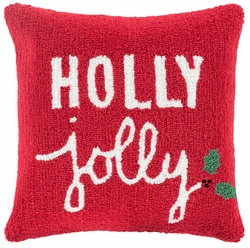 Hand hooked Red Holly Jolly Holiday Pillow