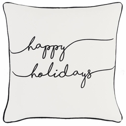 Happy Holidays Pillow White