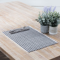 Harmony Ribbed Navy Placemat Set of 6 <font color=a8bb35>NEW</font>