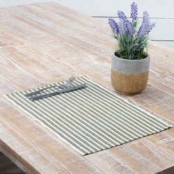 Harmony Ribbed Olive Green Placemat Set of 6 <font color=a8bb35>NEW</font>