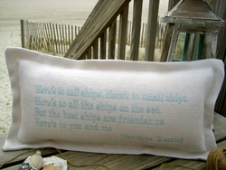 Here's To Tall Ships Coastal Phrase Pillow