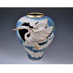 Heron in Clouds Vase
