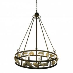 Hilton Head Wagon Wheel Shell Chandelier