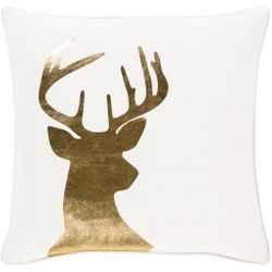 Holiday Deer Head in Gold Pillow *NEW