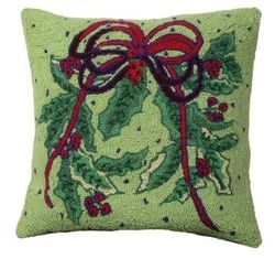 Holly Bough Christmas Pillow  <font color=a8bb35> NEW</font>