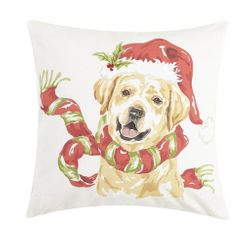 Holly Lab with Scarf Pillow *NEW