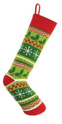 Holly Leave Fair Isle Knit Christmas Stocking<font color =a8bb35> Sold out</font>