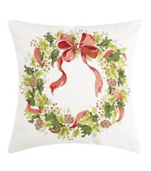 Holly Pinecone Wreath Pillow *NEW