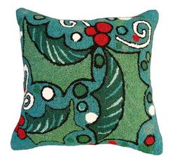 Holly with Blue Field Christmas Pillow  <font color=a8bb35> NEW</font>