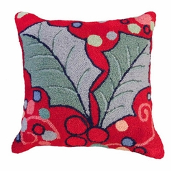 Holly with Red Field Hooked Pillow