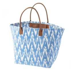 Ikat Woven Tote Beach Bag - French Blue