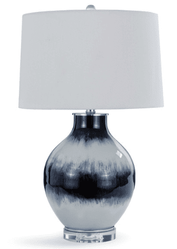 Indigo Glass Table Lamp <font color=a8bb35> NEW</font>