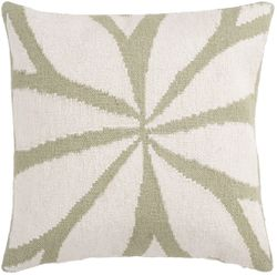 Ivory and Green Star Pillow