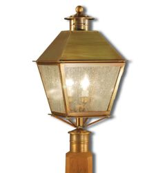 Jamestown 3-Light Post Lantern with Seedy Marine Glass<font color=a8bb25> Sold Out</font>