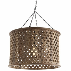 Jarrod Large Carved Wood and Mirror Pendant Light in Natural