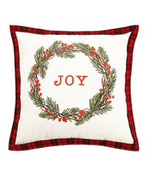 Joy Rustic Wreath on Red Plaid Pillow *NEW