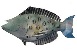 Juvenile Bluespine Unicorn Fish Metal Art