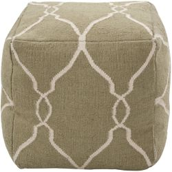 Khaki Green Wool Pouf