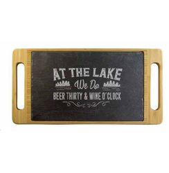 Lake Beer & Wine Slate & Bamboo Serving Tray