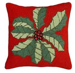 Large Holly Christmas Pillow <font color=a8bb35> NEW</font>