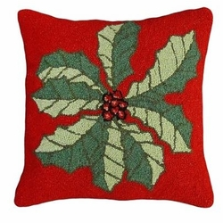 Large Holly Christmas Pillow