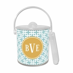 Lattice Slate Teal Ice Bucket